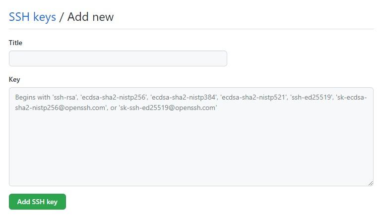 создание нового ssh-ключа github